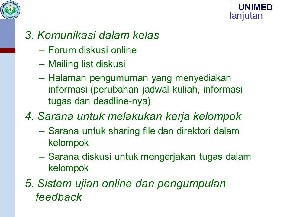 UNIMED lanjutan 3. Komunikasi dalam kelas –Forum diskusi online –Mailing list diskusi –Halaman pengumuman yang menyediakan informasi (perubahan jadwal