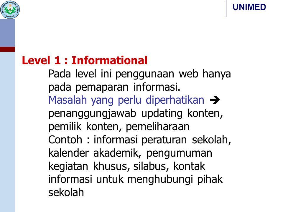 UNIMED Level 1 : Informational Pada level ini penggunaan web hanya pada pemaparan informasi. Masalah yang perlu diperhatikan  penanggungjawab updatin