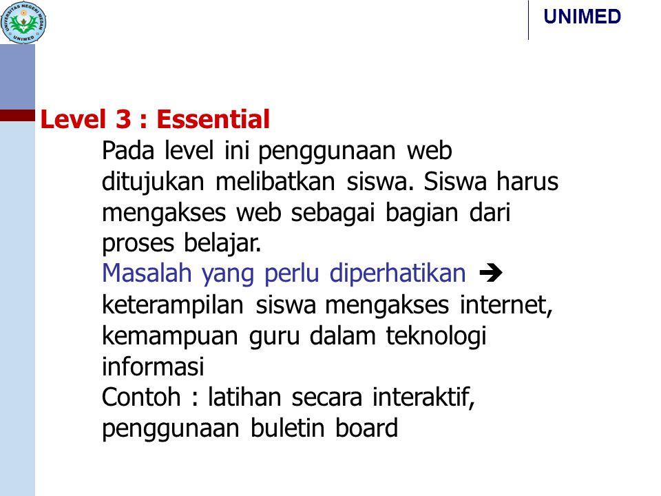 UNIMED Level 3 : Essential Pada level ini penggunaan web ditujukan melibatkan siswa. Siswa harus mengakses web sebagai bagian dari proses belajar. Mas