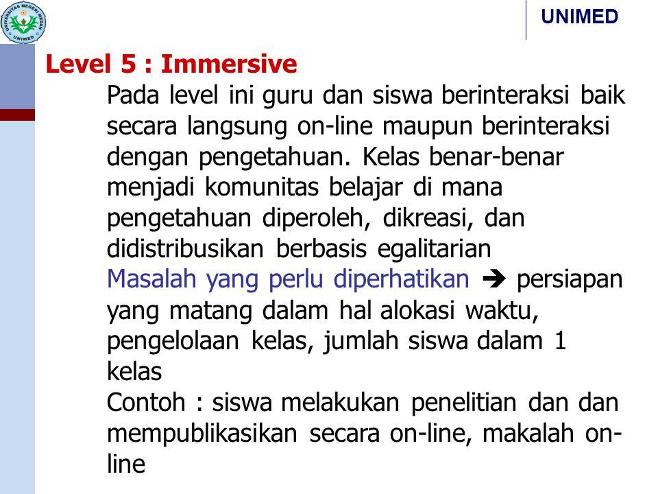UNIMED Level 5 : Immersive Pada level ini guru dan siswa berinteraksi baik secara langsung on-line maupun berinteraksi dengan pengetahuan. Kelas benar