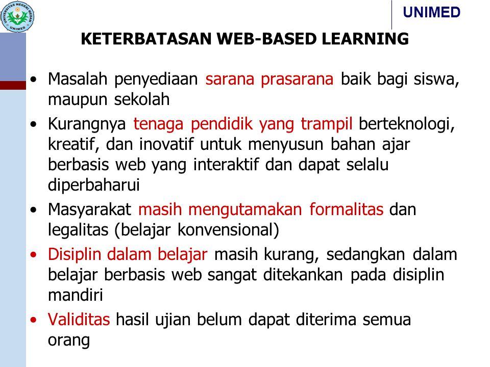 UNIMED KETERBATASAN WEB-BASED LEARNING Masalah penyediaan sarana prasarana baik bagi siswa, maupun sekolah Kurangnya tenaga pendidik yang trampil bert