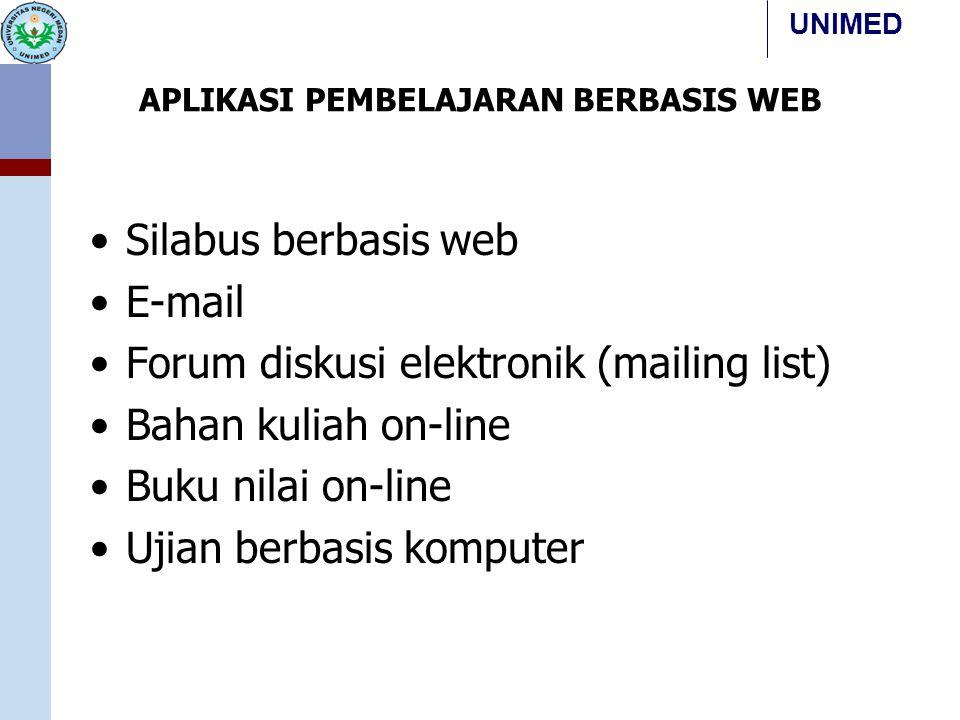 UNIMED APLIKASI PEMBELAJARAN BERBASIS WEB Silabus berbasis web E-mail Forum diskusi elektronik (mailing list) Bahan kuliah on-line Buku nilai on-line