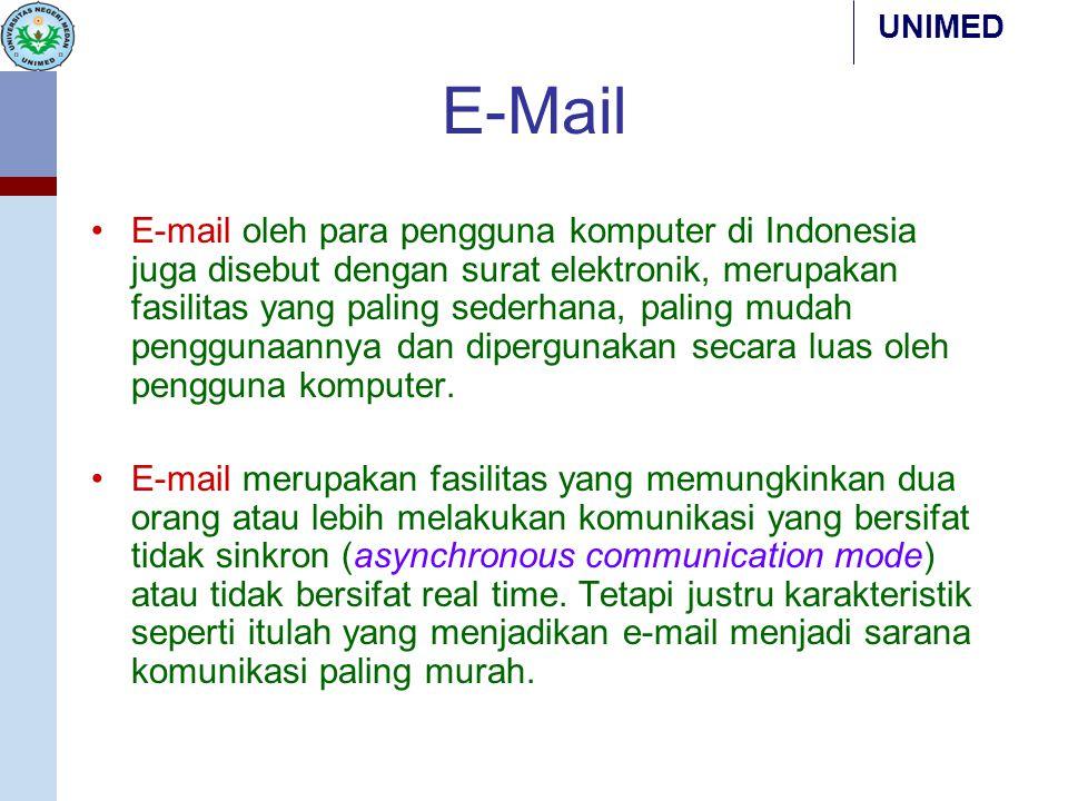 UNIMED E-Mail E-mail oleh para pengguna komputer di Indonesia juga disebut dengan surat elektronik, merupakan fasilitas yang paling sederhana, paling