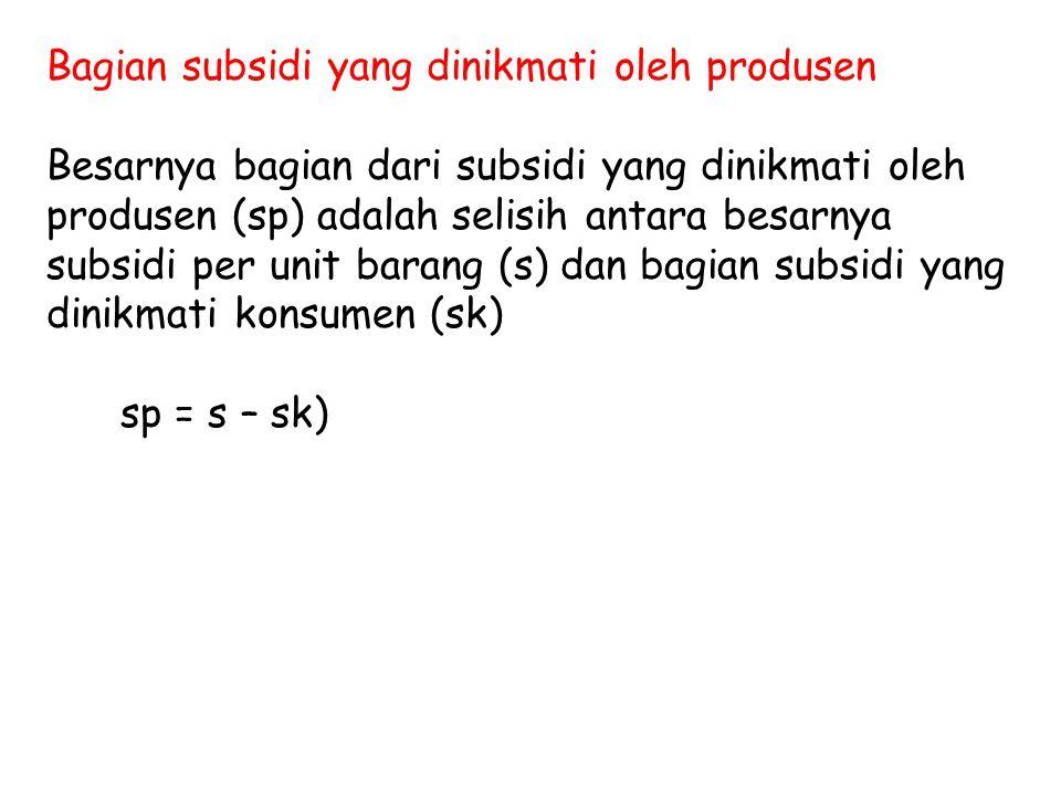 Bagian subsidi yang dinikmati oleh produsen Besarnya bagian dari subsidi yang dinikmati oleh produsen (sp) adalah selisih antara besarnya subsidi per unit barang (s) dan bagian subsidi yang dinikmati konsumen (sk) sp = s – sk)