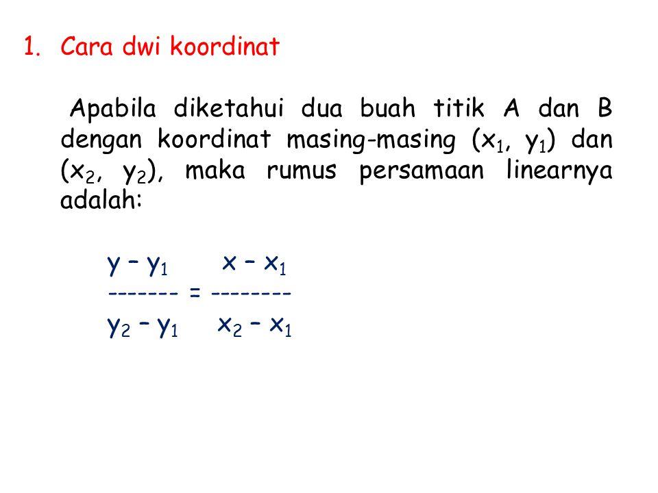 1.Cara dwi koordinat Apabila diketahui dua buah titik A dan B dengan koordinat masing-masing (x 1, y 1 ) dan (x 2, y 2 ), maka rumus persamaan linearnya adalah: y – y 1 x – x 1 ------- = -------- y 2 – y 1 x 2 – x 1
