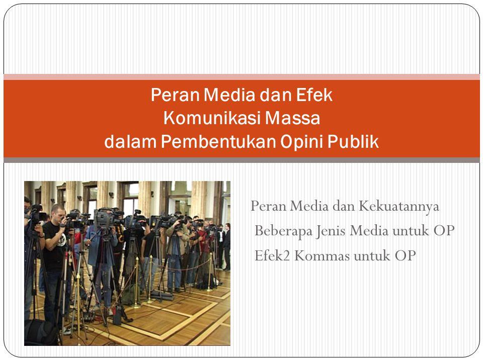 Peran Media dan Kekuatannya Beberapa Jenis Media untuk OP Efek2 Kommas untuk OP Peran Media dan Efek Komunikasi Massa dalam Pembentukan Opini Publik