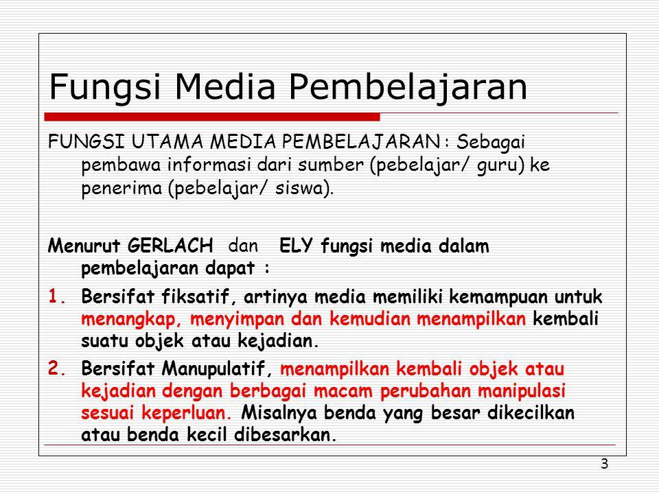 3 Fungsi Media Pembelajaran FUNGSI UTAMA MEDIA PEMBELAJARAN : Sebagai pembawa informasi dari sumber (pebelajar/ guru) ke penerima (pebelajar/ siswa).