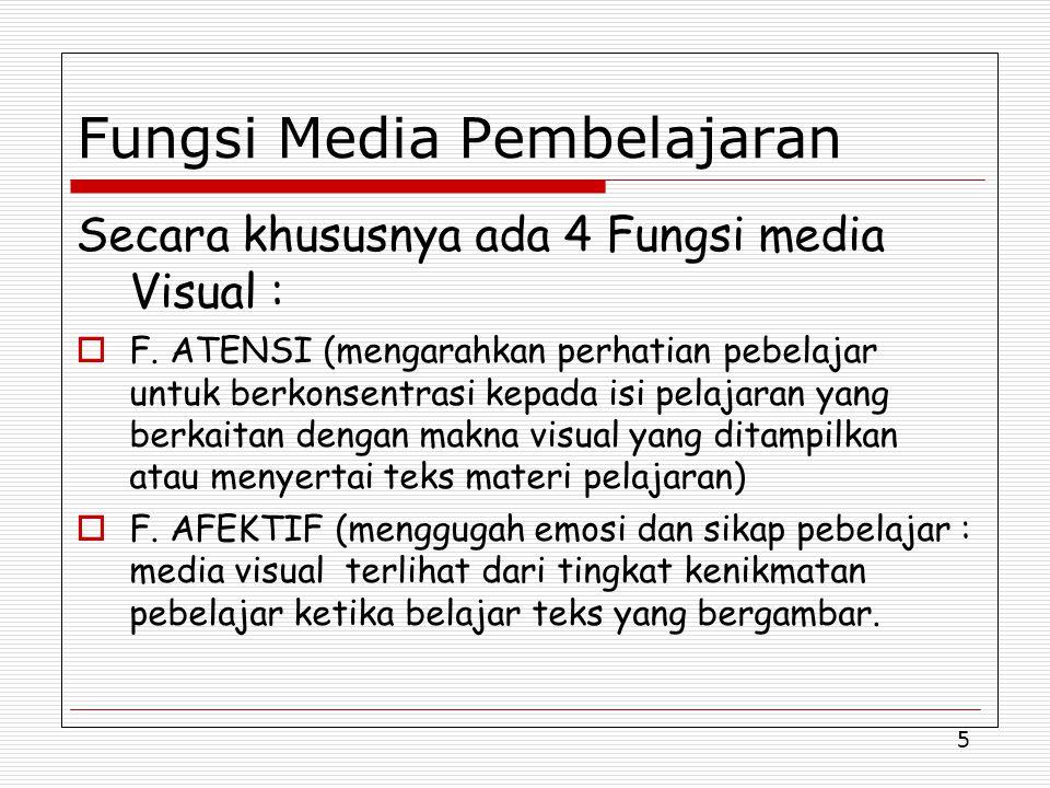 5 Fungsi Media Pembelajaran Secara khususnya ada 4 Fungsi media Visual :  F.