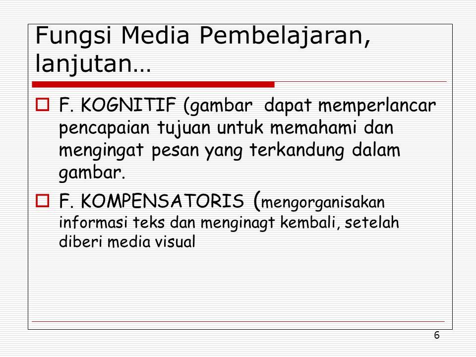 6 Fungsi Media Pembelajaran, lanjutan…  F.