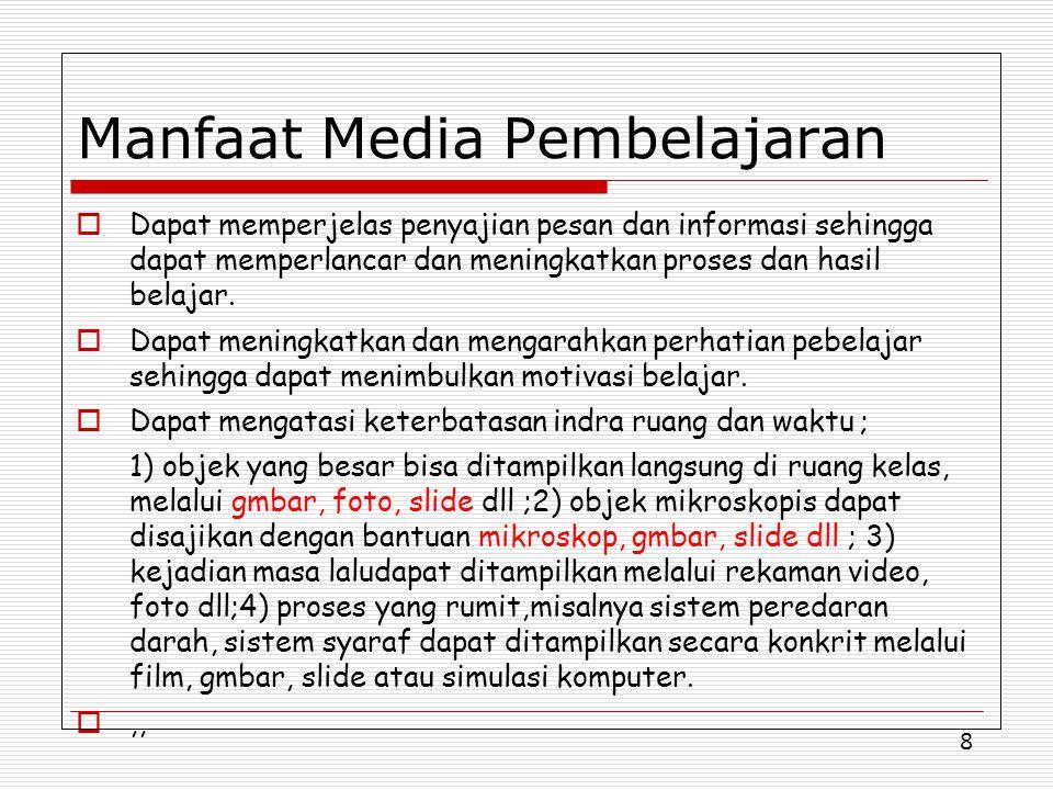 8 Manfaat Media Pembelajaran  Dapat memperjelas penyajian pesan dan informasi sehingga dapat memperlancar dan meningkatkan proses dan hasil belajar.