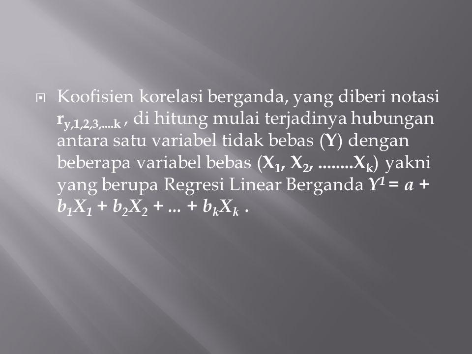  Koofisien korelasi berganda, yang diberi notasi r y,1,2,3,....k, di hitung mulai terjadinya hubungan antara satu variabel tidak bebas ( Y ) dengan beberapa variabel bebas ( X 1, X 2,........X k ) yakni yang berupa Regresi Linear Berganda Y 1 = a + b 1 X 1 + b 2 X 2 +...