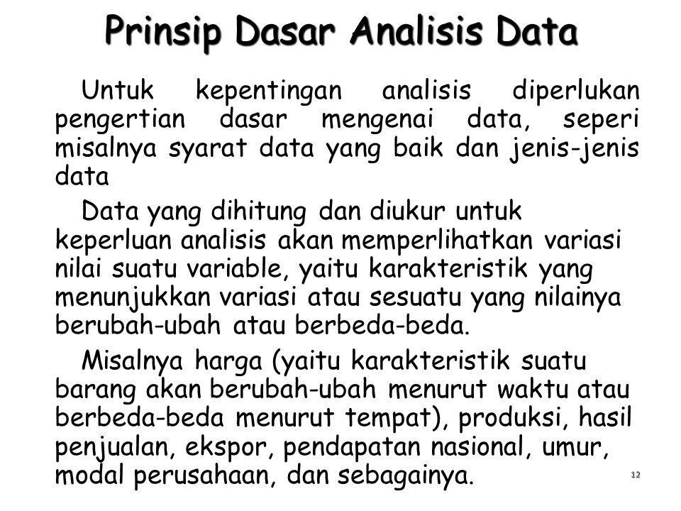 Prinsip Dasar Analisis Data Untuk kepentingan analisis diperlukan pengertian dasar mengenai data, seperi misalnya syarat data yang baik dan jenis-jeni
