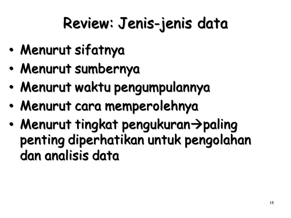 Review: Jenis-jenis data Menurut sifatnya Menurut sifatnya Menurut sumbernya Menurut sumbernya Menurut waktu pengumpulannya Menurut waktu pengumpulann