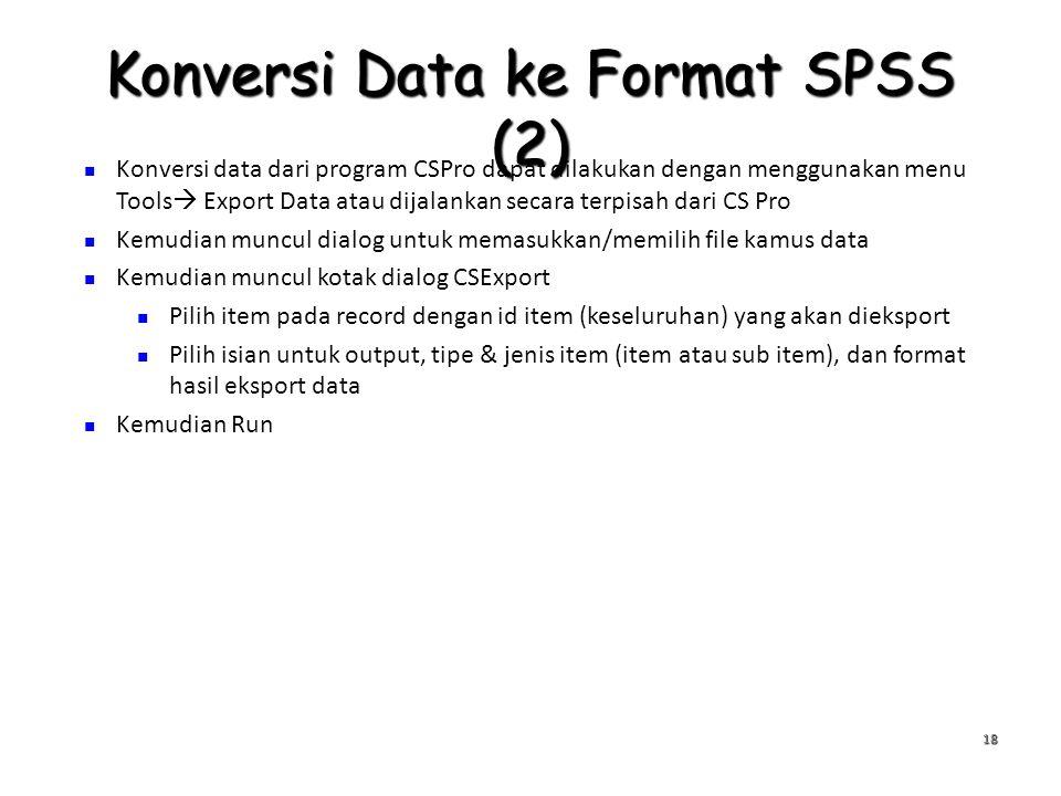 Konversi Data ke Format SPSS (2) 18 Konversi data dari program CSPro dapat dilakukan dengan menggunakan menu Tools  Export Data atau dijalankan secar
