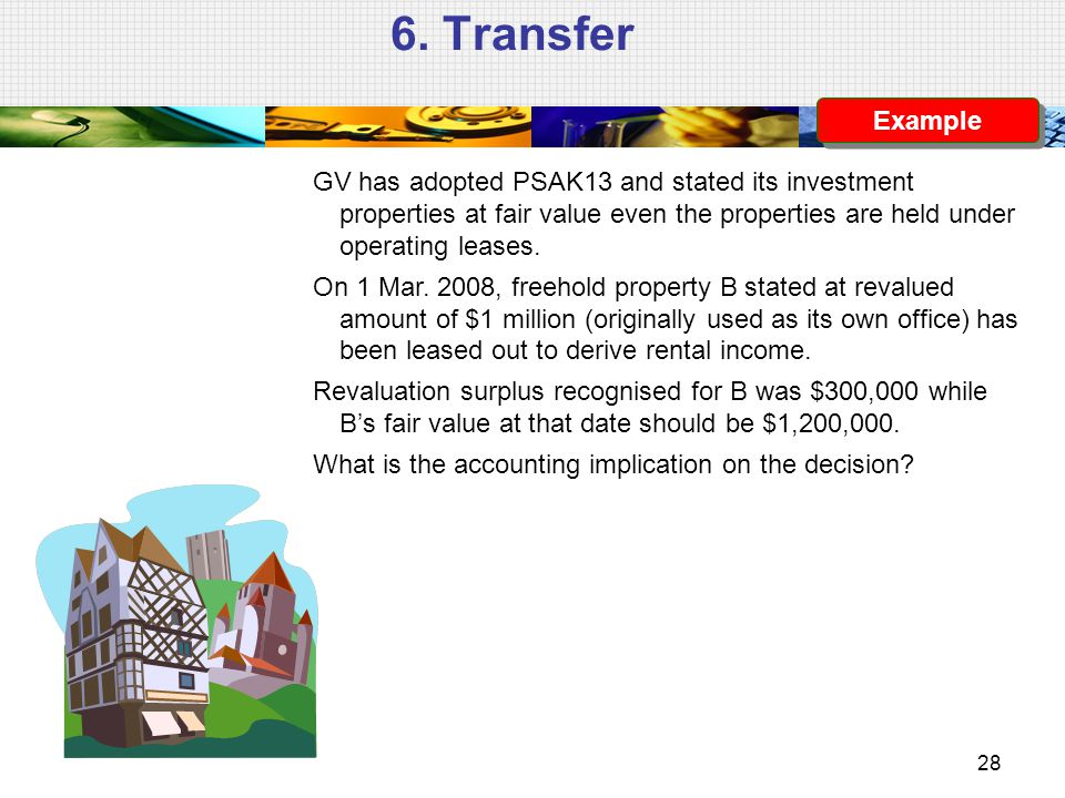 6. Transfer GV has adopted PSAK13 and stated its investment properties at fair value even the properties are held under operating leases. On 1 Mar. 20