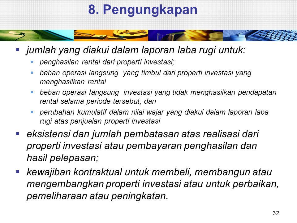 8. Pengungkapan  jumlah yang diakui dalam Iaporan laba rugi untuk:  penghasilan rental dari properti investasi;  beban operasi langsung yang timbul