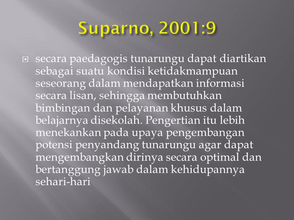  Sunaryo Kartadinata (1996:75) mengemukakan faktor-faktor penyebab ketunarunguan adalah sebagai berikut :  Pada saat dilahirkan (prenatal)  Salah satu atau kedua orang tua anak menderita tunarungu atau mempunyai gen sel pembawa sifat abnorma, misalnya : dominan gen, resesive gen, dll.