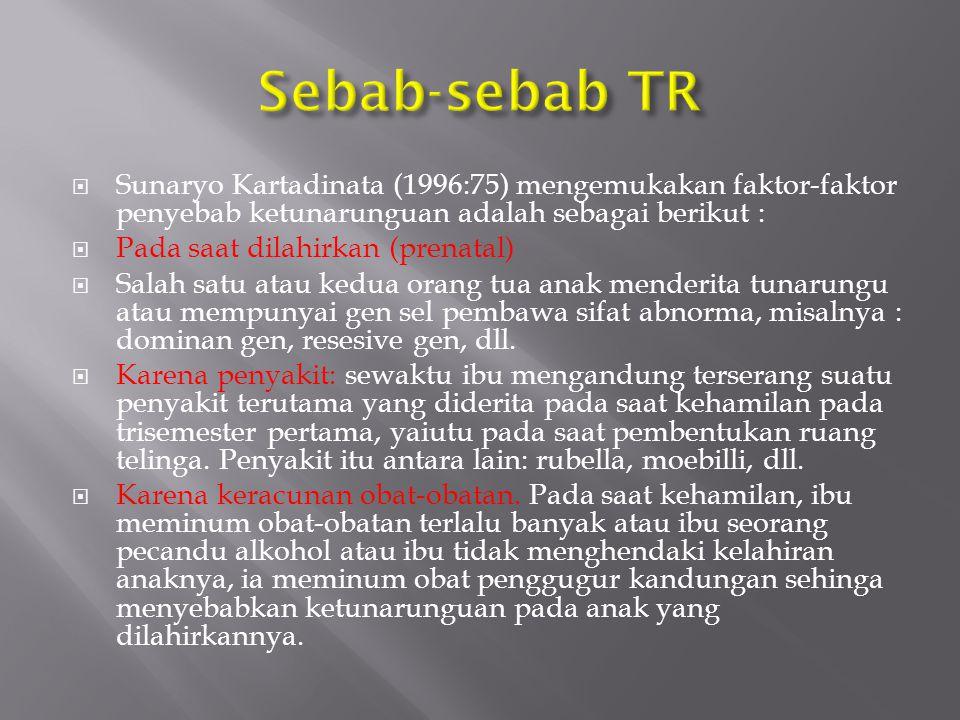 Sunaryo Kartadinata (1996:75) mengemukakan faktor-faktor penyebab ketunarunguan adalah sebagai berikut :  Pada saat dilahirkan (prenatal)  Salah s