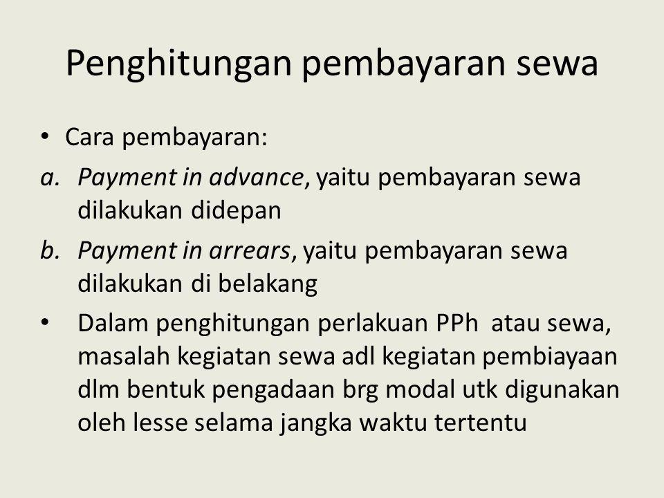 Penghitungan pembayaran sewa Cara pembayaran: a.Payment in advance, yaitu pembayaran sewa dilakukan didepan b.Payment in arrears, yaitu pembayaran sew