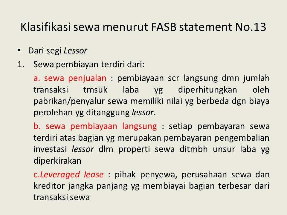 Klasifikasi sewa menurut FASB statement No.13 Dari segi Lessor 1.Sewa pembiayan terdiri dari: a. sewa penjualan : pembiayaan scr langsung dmn jumlah t