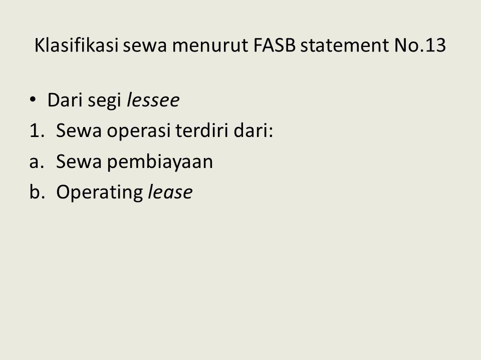 Klasifikasi sewa menurut FASB statement No.13 Dari segi lessee 1.Sewa operasi terdiri dari: a.Sewa pembiayaan b.Operating lease
