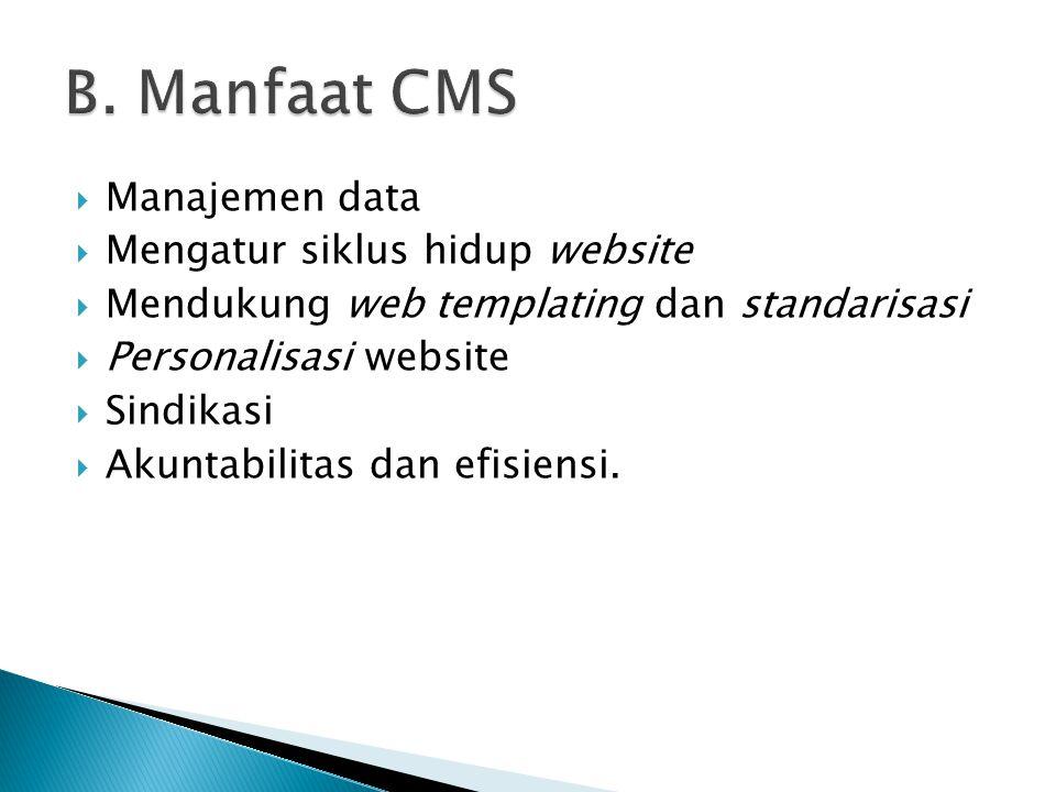  Manajemen data  Mengatur siklus hidup website  Mendukung web templating dan standarisasi  Personalisasi website  Sindikasi  Akuntabilitas dan e