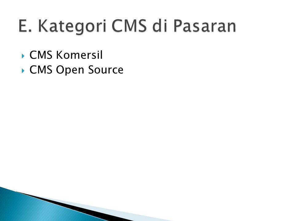  CMS Komersil  CMS Open Source