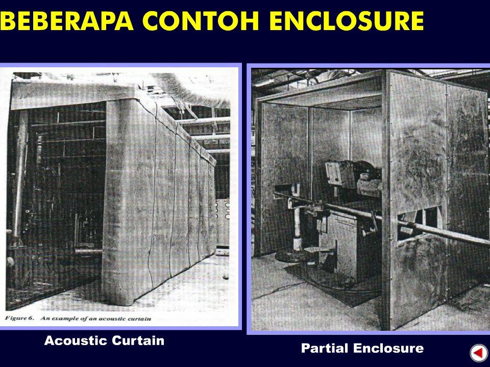 Apa saja contoh peralatan pengendali bising ?? 1.Enclosure; insulasi bising yg dirancang untuk membungkus sumber bising atau menutup penerima dari pap