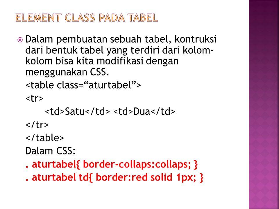 Dalam pembuatan sebuah tabel, kontruksi dari bentuk tabel yang terdiri dari kolom- kolom bisa kita modifikasi dengan menggunakan CSS.
