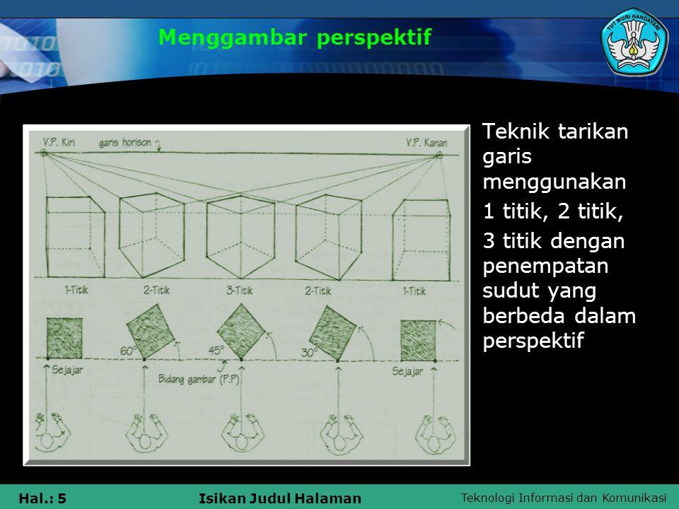 Teknologi Informasi dan Komunikasi Hal.: 5Isikan Judul Halaman Menggambar perspektif Teknik tarikan garis menggunakan 1 titik, 2 titik, 3 titik dengan