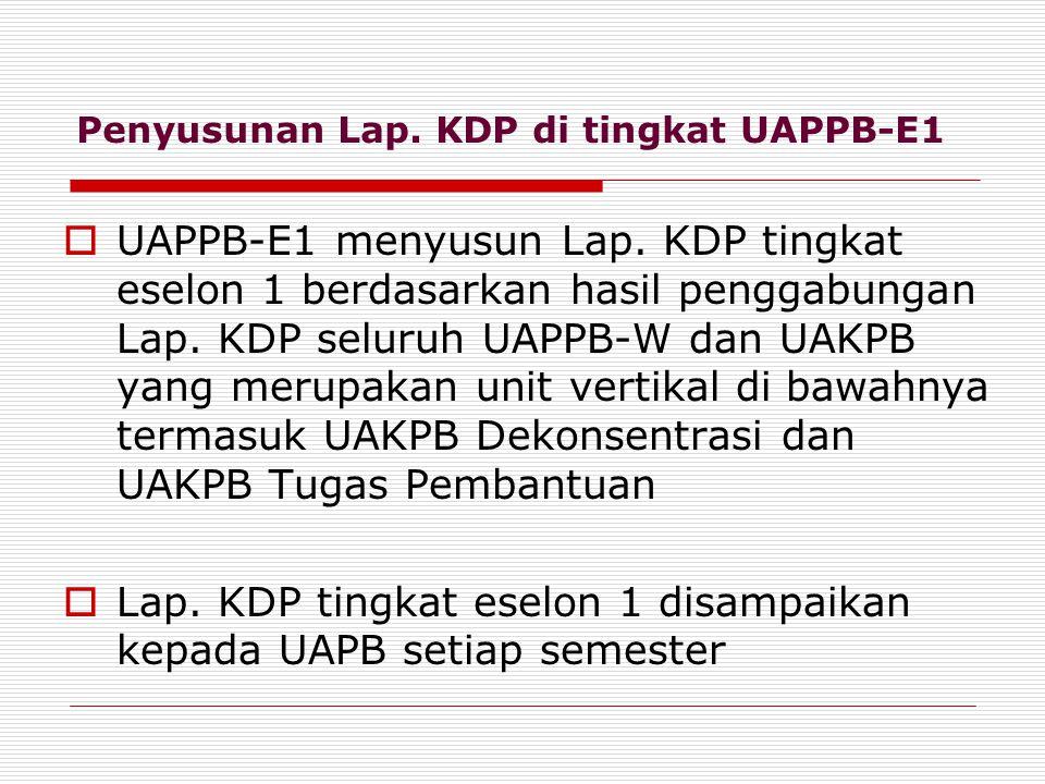 Penyusunan Lap.KDP di tingkat UAPPB-E1  UAPPB-E1 menyusun Lap.
