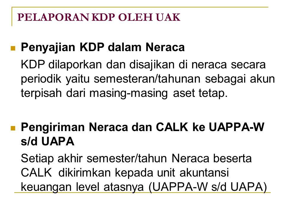 PELAPORAN KDP OLEH UAK Penyajian KDP dalam Neraca KDP dilaporkan dan disajikan di neraca secara periodik yaitu semesteran/tahunan sebagai akun terpisah dari masing-masing aset tetap.