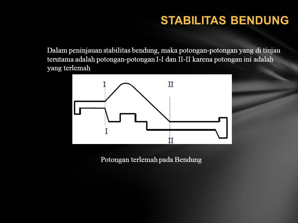 STABILITAS BENDUNG Dalam peninjauan stabilitas bendung, maka potongan-potongan yang di tinjau terutama adalah potongan-potongan I-I dan II-II karena p