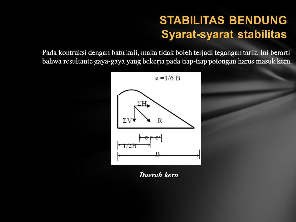 STABILITAS BENDUNG Syarat-syarat stabilitas Pada kontruksi dengan batu kali, maka tidak boleh terjadi tegangan tarik. Ini berarti bahwa resultante gay