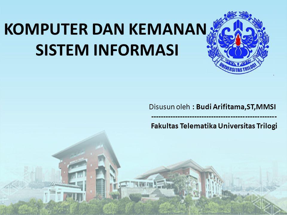 KOMPUTER DAN KEMANAN SISTEM INFORMASI Disusun oleh : Budi Arifitama,ST,MMSI ---------------------------------------------------- Fakultas Telematika U