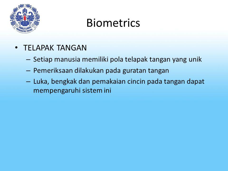 Biometrics TELAPAK TANGAN – Setiap manusia memiliki pola telapak tangan yang unik – Pemeriksaan dilakukan pada guratan tangan – Luka, bengkak dan pema