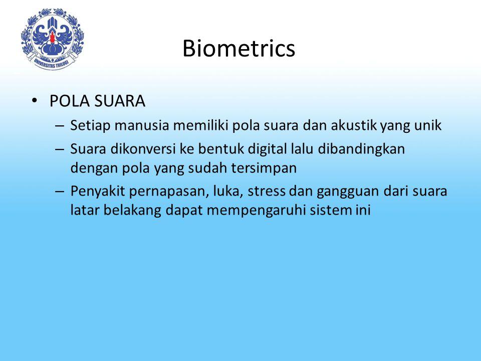 Biometrics POLA SUARA – Setiap manusia memiliki pola suara dan akustik yang unik – Suara dikonversi ke bentuk digital lalu dibandingkan dengan pola ya