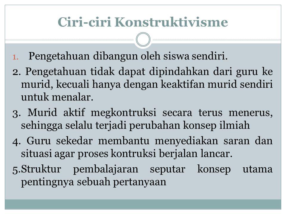 Ciri-ciri Konstruktivisme 1. Pengetahuan dibangun oleh siswa sendiri. 2. Pengetahuan tidak dapat dipindahkan dari guru ke murid, kecuali hanya dengan