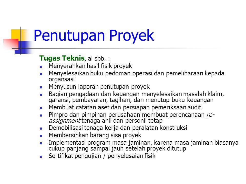 Penutupan Proyek Tugas Teknis, al sbb.