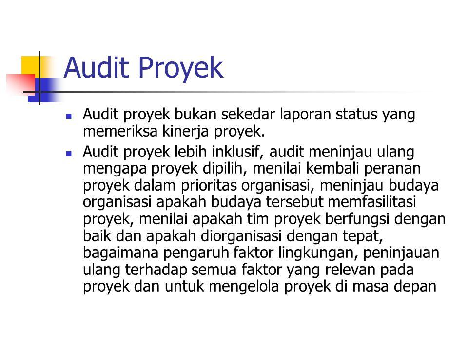 Audit Proyek Audit proyek bukan sekedar laporan status yang memeriksa kinerja proyek.