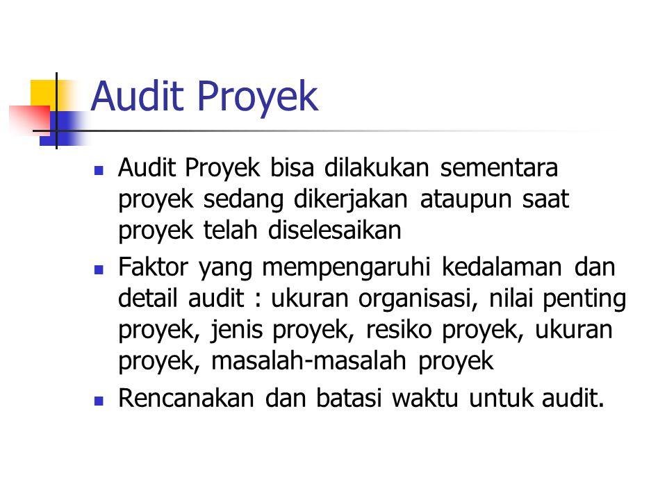 Audit Proyek Audit Proyek bisa dilakukan sementara proyek sedang dikerjakan ataupun saat proyek telah diselesaikan Faktor yang mempengaruhi kedalaman dan detail audit : ukuran organisasi, nilai penting proyek, jenis proyek, resiko proyek, ukuran proyek, masalah-masalah proyek Rencanakan dan batasi waktu untuk audit.