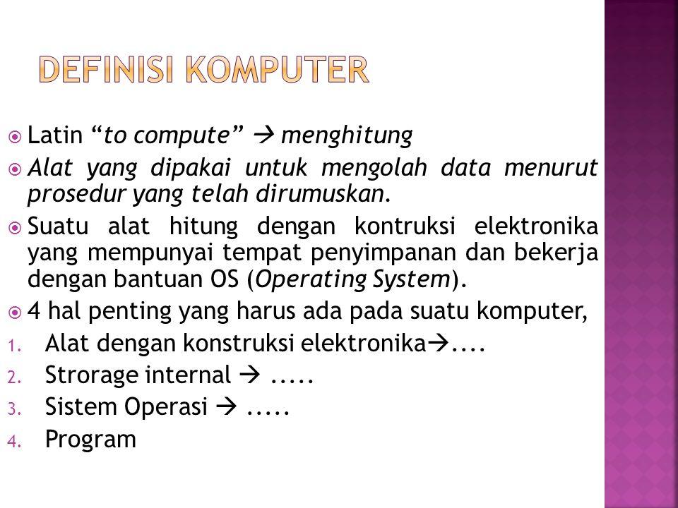  Latin to compute  menghitung  Alat yang dipakai untuk mengolah data menurut prosedur yang telah dirumuskan.