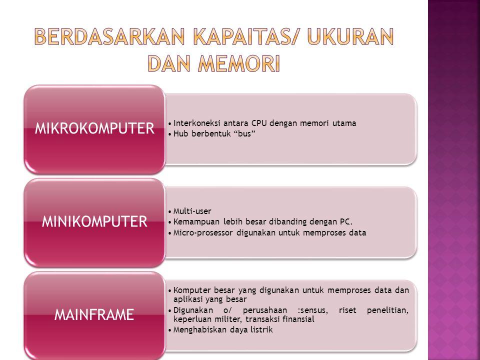 Interkoneksi antara CPU dengan memori utama Hub berbentuk bus MIKROKOMPUTER Multi-user Kemampuan lebih besar dibanding dengan PC.