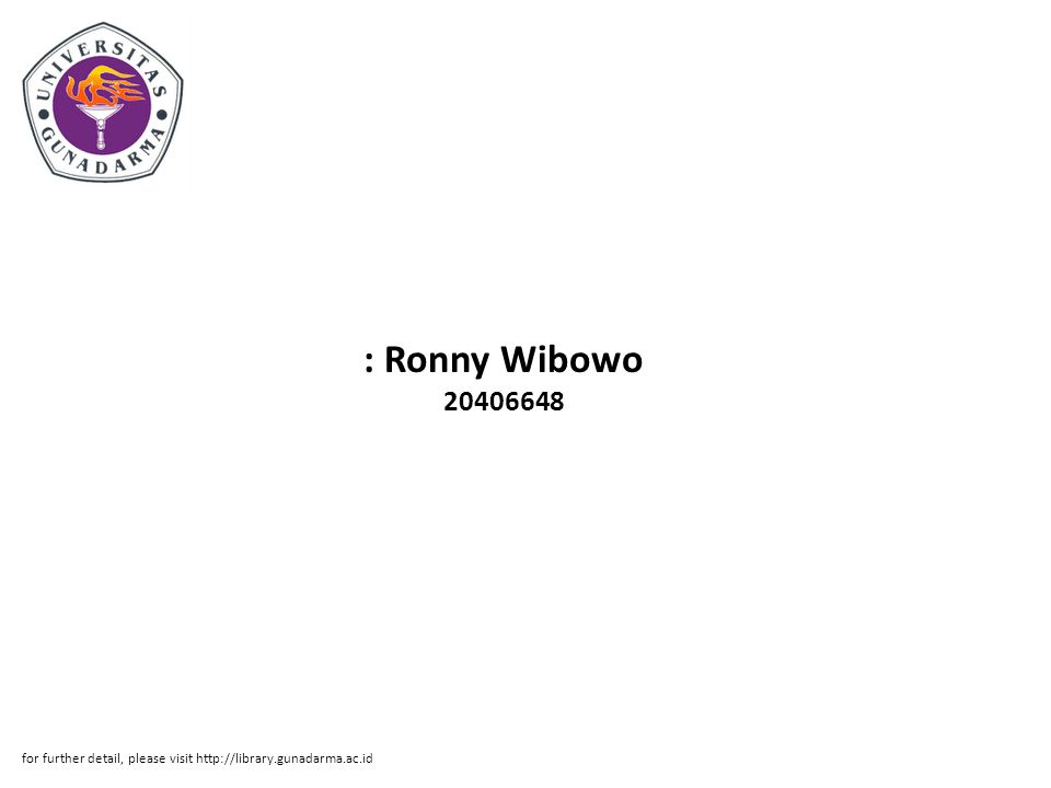 : Ronny Wibowo for further detail, please visit