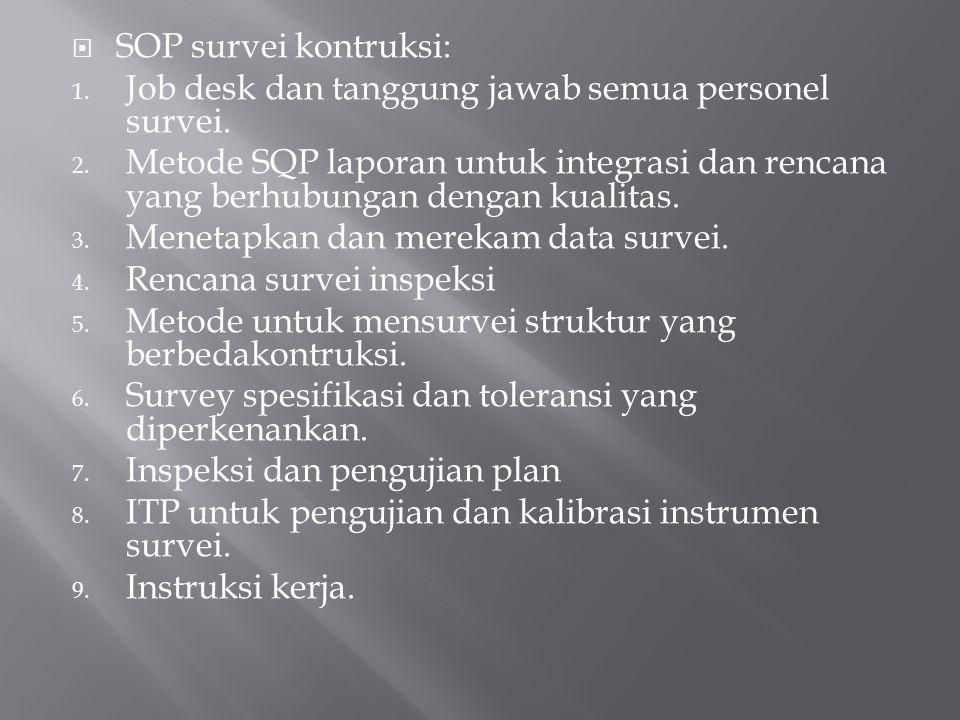  SOP survei kontruksi: 1. Job desk dan tanggung jawab semua personel survei. 2. Metode SQP laporan untuk integrasi dan rencana yang berhubungan denga