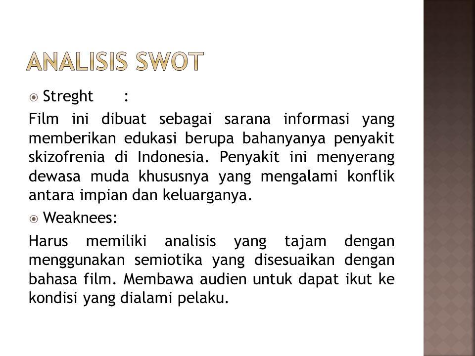  Streght: Film ini dibuat sebagai sarana informasi yang memberikan edukasi berupa bahanyanya penyakit skizofrenia di Indonesia.