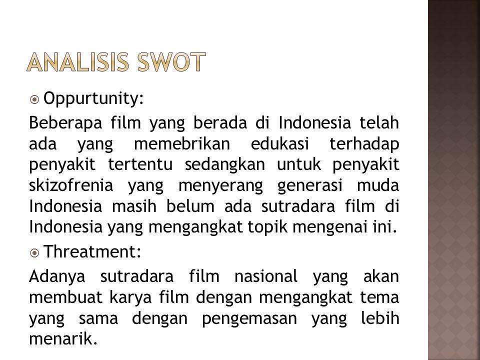  Oppurtunity: Beberapa film yang berada di Indonesia telah ada yang memebrikan edukasi terhadap penyakit tertentu sedangkan untuk penyakit skizofrenia yang menyerang generasi muda Indonesia masih belum ada sutradara film di Indonesia yang mengangkat topik mengenai ini.