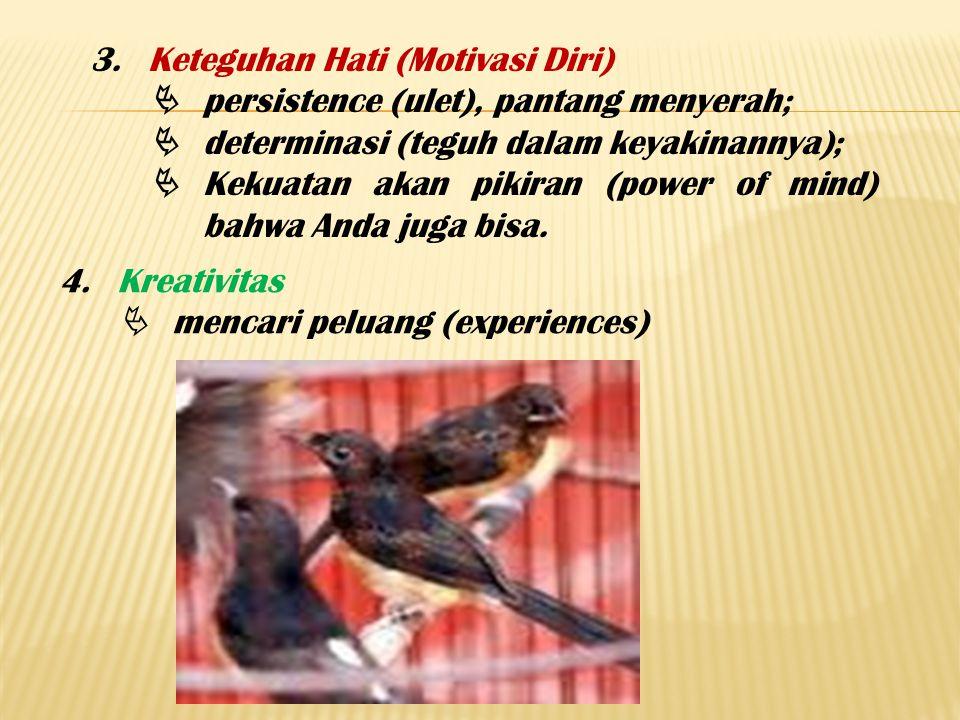 3.Keteguhan Hati (Motivasi Diri)  persistence (ulet), pantang menyerah;  determinasi (teguh dalam keyakinannya);  Kekuatan akan pikiran (power of m