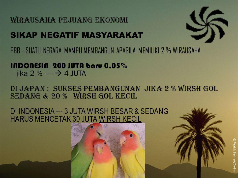 WIRAUSAHA PEJUANG EKONOMI SIKAP NEGATIF MASYARAKAT PBB –SUATU NEGARA MAMPU MEMBANGUN APABILA MEMILIKI 2 % WIRAUSAHA INDONESIA 200 JUTA baru 0,05% jika