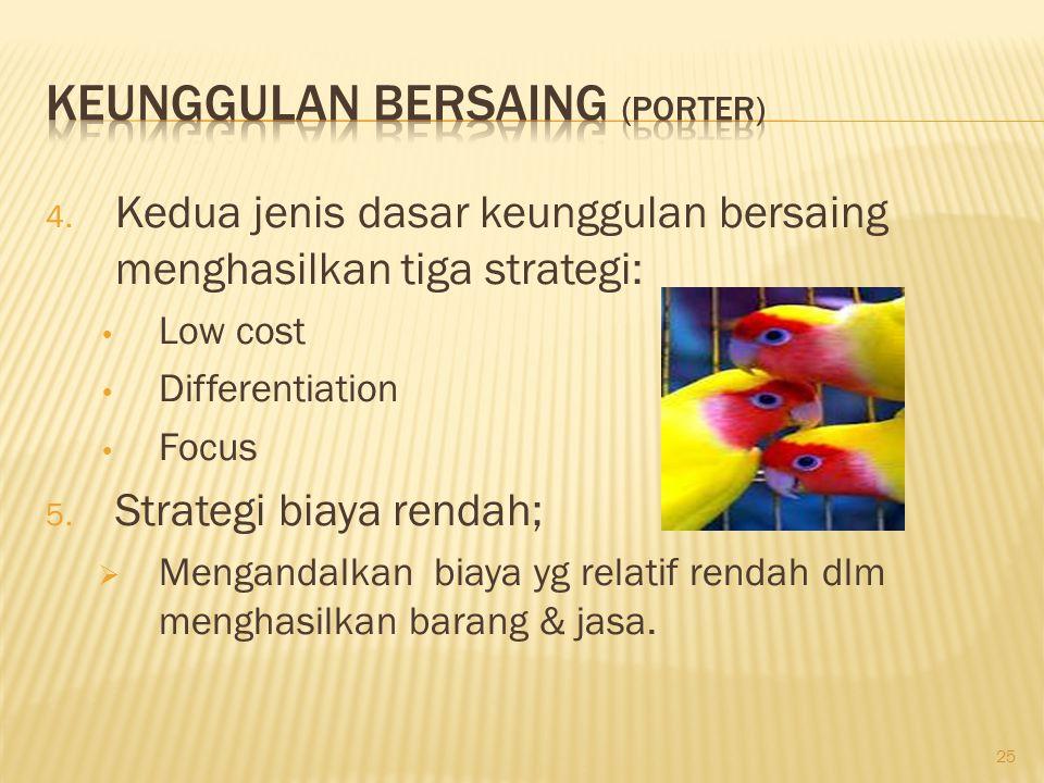25 4. Kedua jenis dasar keunggulan bersaing menghasilkan tiga strategi: Low cost Differentiation Focus 5. Strategi biaya rendah;  Mengandalkan biaya
